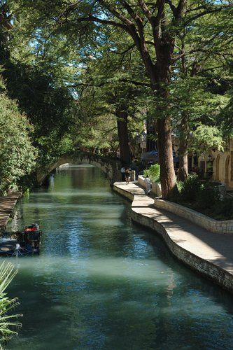 San Antonio Riverwalk, Texas. A fun, touristy place. Lined with shops, hotels and restaurants with easy boat ride tours. It's also attached to a huge mall and is walking distance from The Alamo.