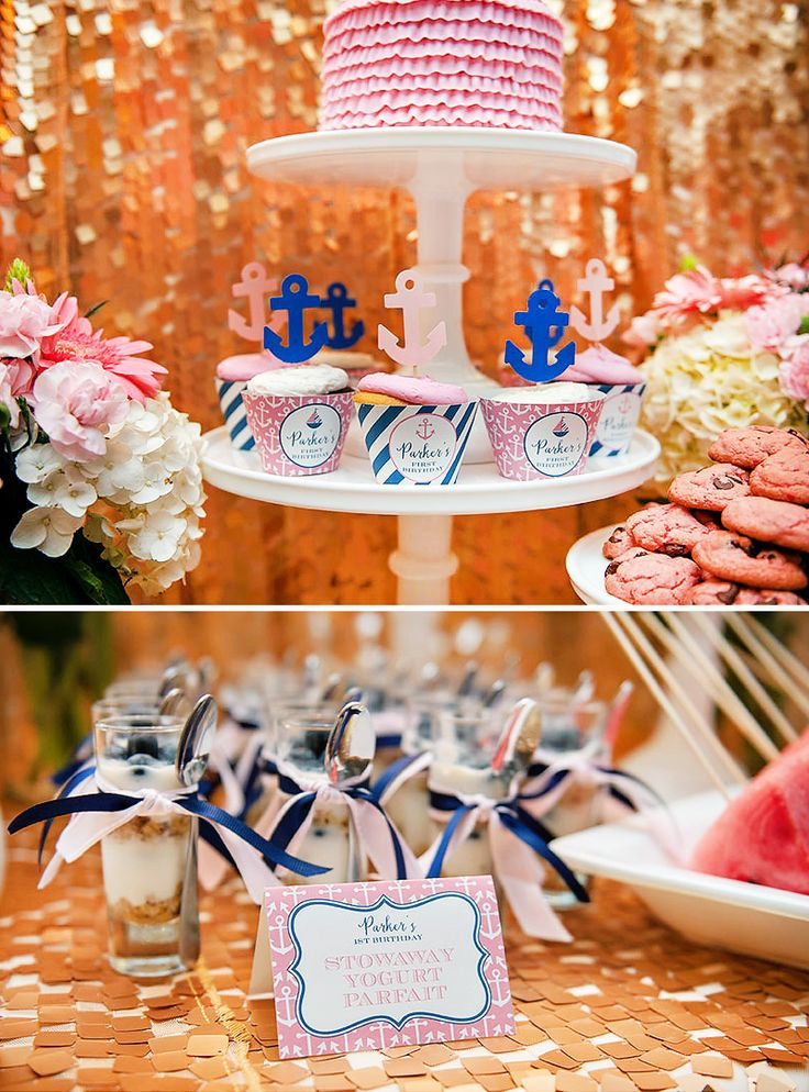 Glam Nautical First Birthday Party {Gold, Pink & Navy}