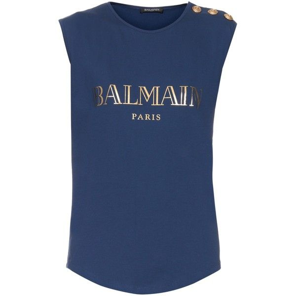 Balmain Logo-print tank top ($173) ❤ liked on Polyvore featuring tops, navy, blue one shoulder top, blue tank, cotton jersey, slouchy tank and balmain