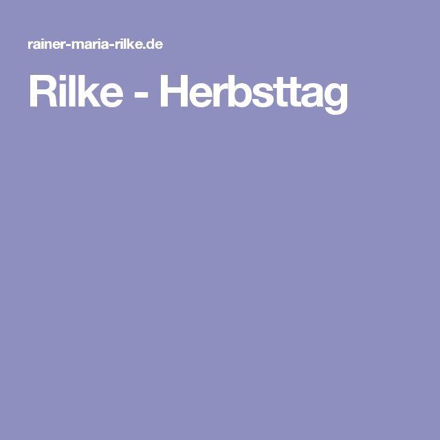 Rilke - Herbsttag