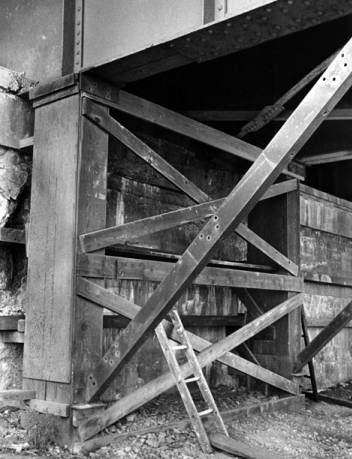 Underneath deck of the Harvard-Denison Bridge, 1968 :: Northeast Ohio's Urban Infrastructure
