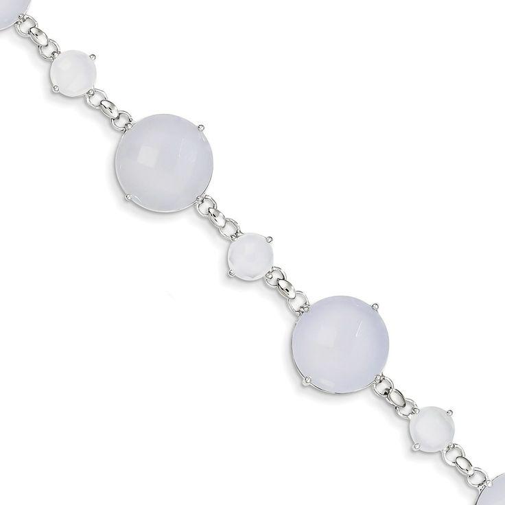 Sterling Silver Blue Chalcedony Circle Bracelet – Goldia.com