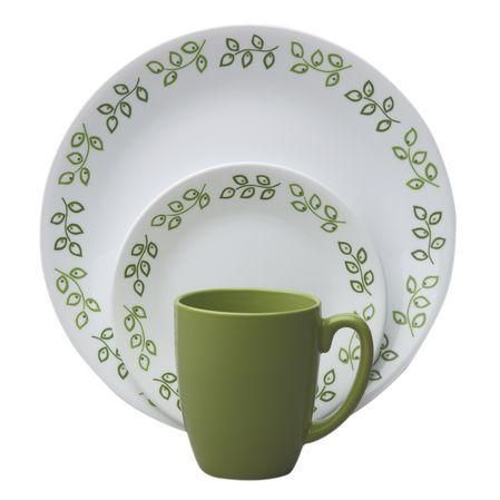 Livingware™ Neo Leaf Dinnerware Set - A simple leaf motif - in alternating shades of dark and olive green - encircles the rims of the plates.  sc 1 st  Pinterest : olive pattern dinnerware - pezcame.com