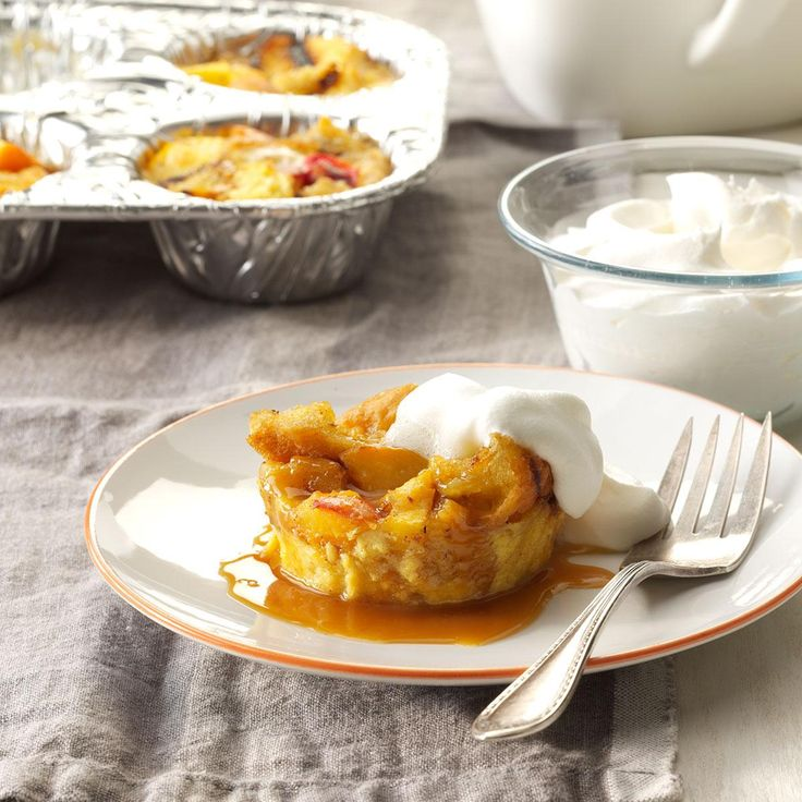 Blackout Peach Bread Pudding Recipe from Taste of Home