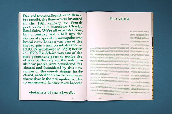 Flaneur | editorial | layout typography Great colour use for big size body text