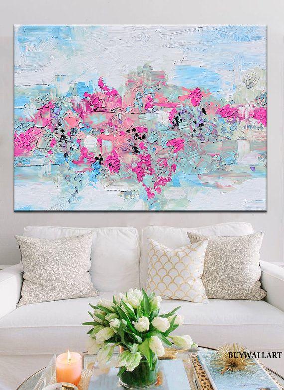 Afdrukken vanuit origineel schilderij, moderne roze blauw Print, grote abstracte schilderkunst, roze kunst, bloemsierkunst, magenta kunst, schilderij fuchsia
