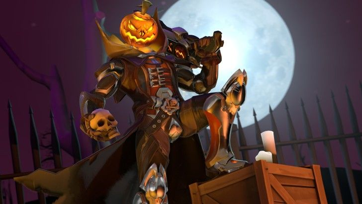 Reaper Pumpkin Skull Halloween Overwatch Wallpaper
