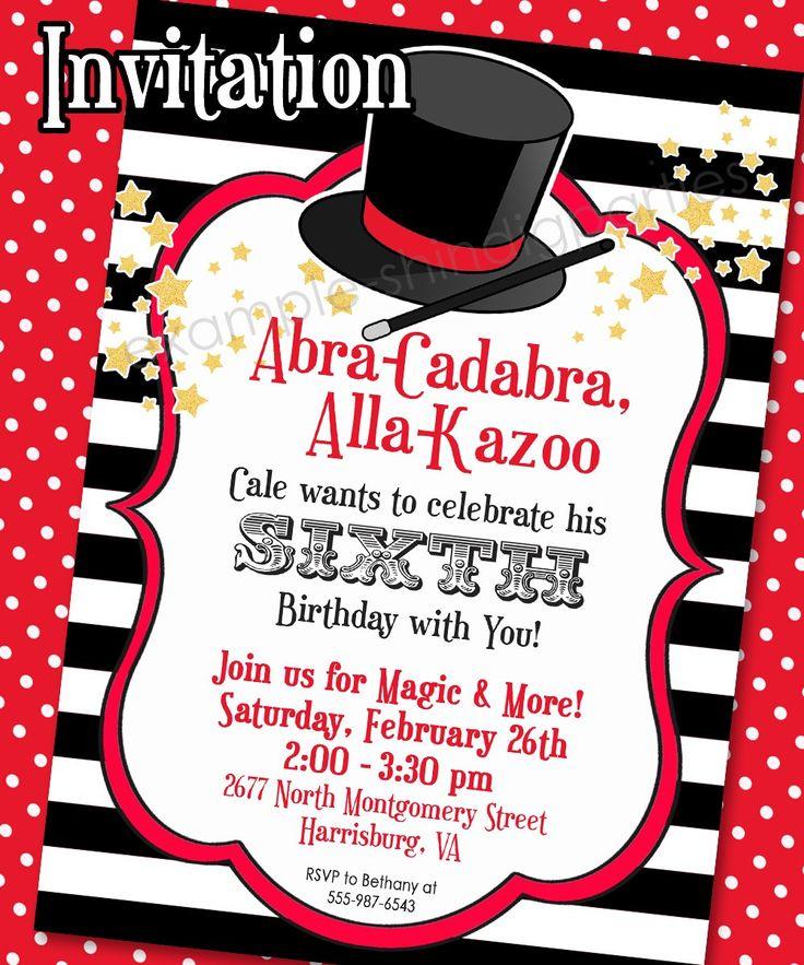 Magic Party Invitation   Magic Birthday Invitation   Magic ...