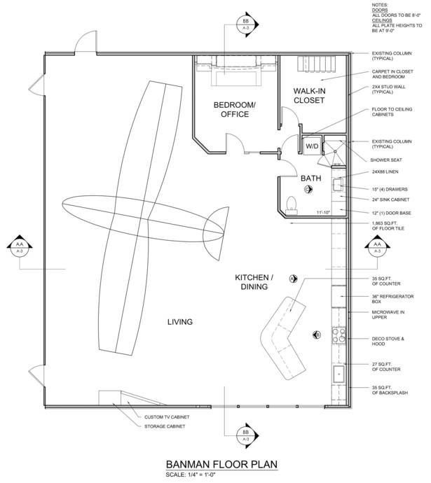Airplane hanger with living space floor plan florida for Hangar home plans