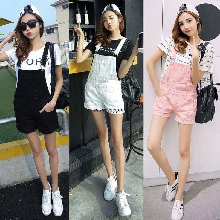 Korean Women Girl Denim Suspender Jumpsuit Romper Short Pants Trousers Overalls
