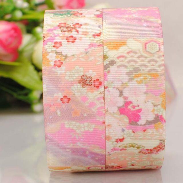 """50 metros 1 """" 25 mm fleur de style chinois motif imprimé gros - grain ruban ruban bricolage à la main livraison gratuite"""