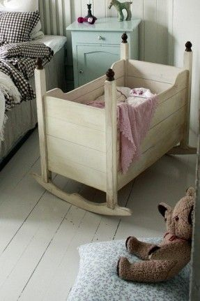 Adorable little wooden crib for whenever we have baby #2! Plus loving that nightstand