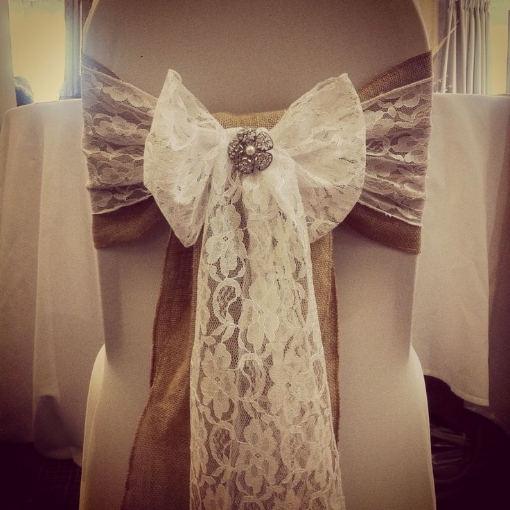 Rustic vintage themed wedding chair covers with hessian for Chair covers for wedding design