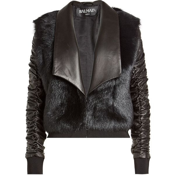 Balmain Leather Jacket ($4,425) ❤ liked on Polyvore featuring outerwear, jackets, black, balmain jacket, real leather jackets, balmain, leather jackets and genuine leather jackets
