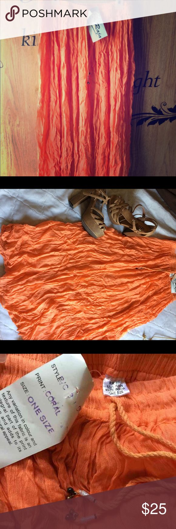 NWT flowy boho coral skirt size OS NWT flowy boho coral skirt size OS has elastic waist with adjustable ties! By Raja. Any questions just ask👇🏼 MAKE AN OFFER❣ BUNDLE & SAVE❣ FAST SHIPPING 📦‼️ Raja Skirts Maxi