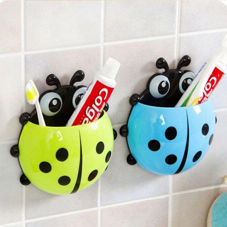Cute Ladybug Cartoon Sucker Toothbrush Holder Suction Hooks Household Items Toothbrush Rack Bathroom Set