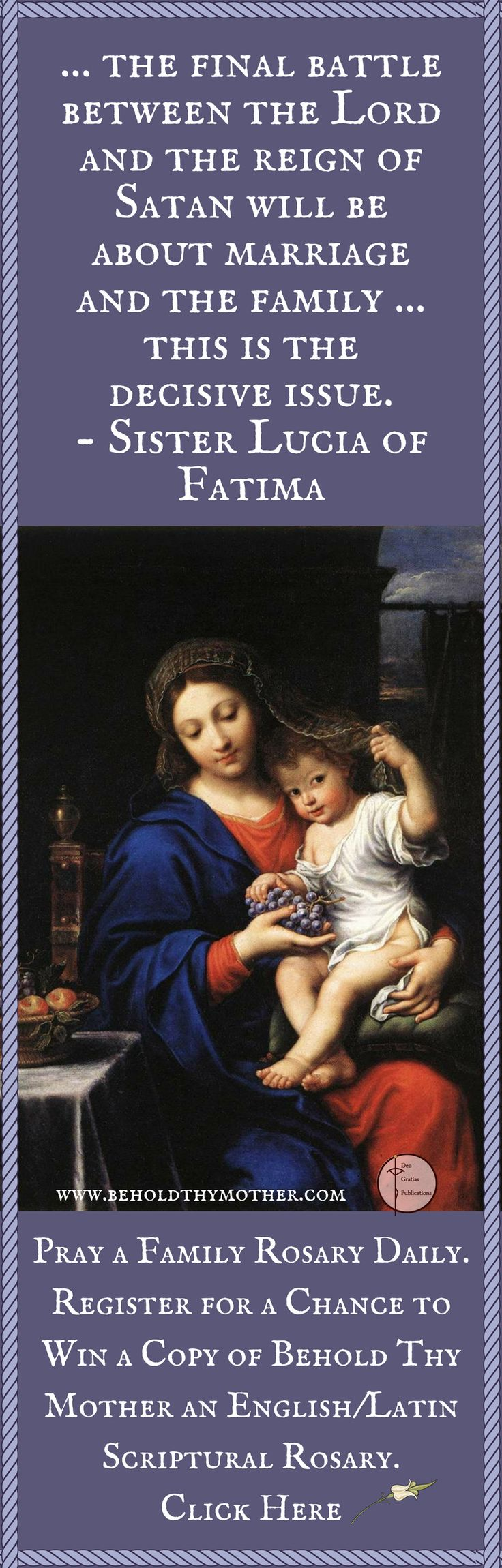 "Pierre Mignard painting. Register for a chance to win a free copy of ""Behold Thy Mother"" and English/Latin Scriptural Rosary book."
