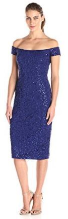 Alex Evenings sequined short blue dress. Well-made mother of the bride dresses