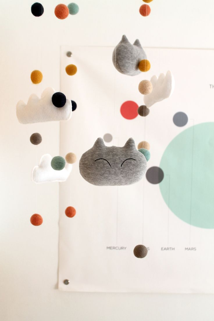 DIY Plush Kitties and Clouds Nursery Mobile   Squirrelly Minds