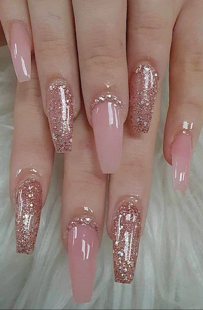 Acrylic Nails Ballerina Nails Baby Pink Nails Pink And Gold Nails Gold Nails Baby Pink Nails Pink Nail Art