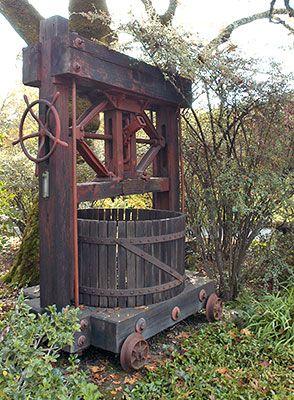 Antique Grape Press, Schramsberg Vineyards - a California Historical Landmark in Napa County | Noe Hill