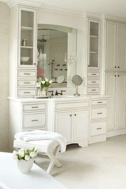 Love the drawers and cabinets to keep the clutter out of sight.