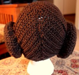 Princess Leia crocheted hair/hat.  The perfect blend of crochet + geek.  :)