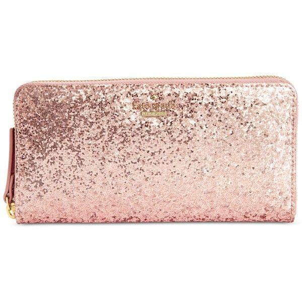 kate spade new york Glitter Bug Lacey Continental Wallet (7,295 PHP) ❤ liked on Polyvore featuring bags, wallets, rose, pink glitter bag, pink wallet, sparkle wallet, gold wallet and gold bag