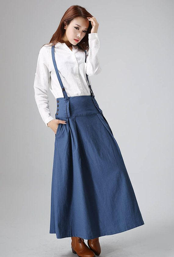 Blue linen skirt  woman maxi skirt  custom made long skirt (819)