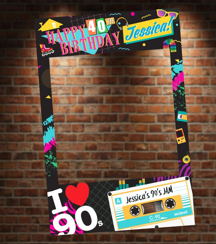 90's Theme Photo Booth for 90's Themed Party! Personalize it with your name, age and event. Great for birthdays, anniversaries, and any other special occasion!
