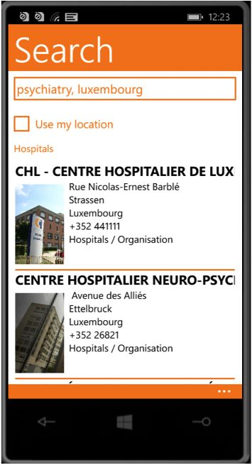 Result of specialty search in this case psychiatric hospital in Luxembourg