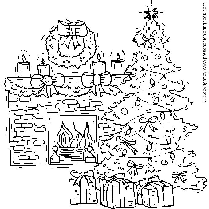 christmas tree coloring pages adult detailed
