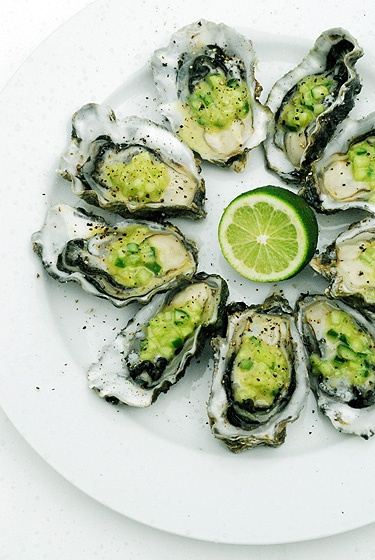 Oyster Recipe - This weeks market recipe! Freshly shucked Mahurangi Oysters from La Cigale with diced cucumber, green tobasco, Genevieve's Cuisine Classic Vinaigrette, lime zest and juice, stirred to combine and spooned over. Finish with a good grind of black pepper. Gotta go... lunch time!  Image and food styling by Genevieve Knights, Auckland, New Zealand.