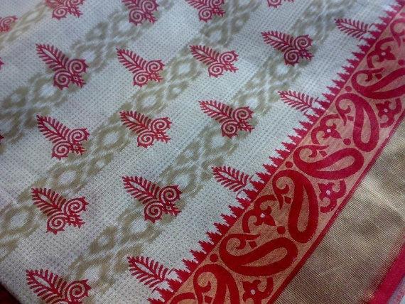 Ikat Block Print Handloom Cotton Fabric Red Gold Paisley by RaajMa