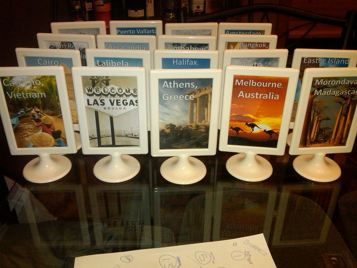 Travel Theme Tables of all the trips we have taken with pictures and memories. Great way to display our souvenirs