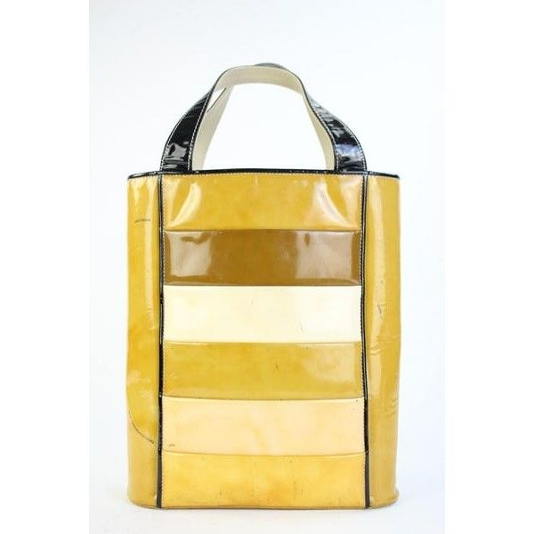Chanel Patchwork Strip 217232 Yellow Tote Bag (151.030 CRC) ❤ liked on Polyvore featuring bags, handbags, tote bags, beige handbags, beige tote, chanel tote bag, patchwork purse and tote purses