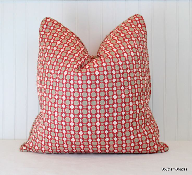 One or Both Sides - ONE High End Thibaut Delilah Nantucket Red and Linen Pillow Cover with Self Cording by SouthernShades on Etsy https://www.etsy.com/listing/258452692/one-or-both-sides-one-high-end-thibaut