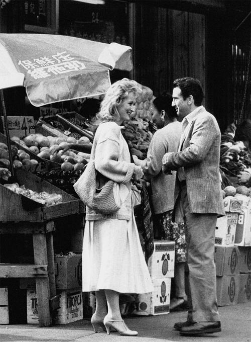 Meryl Streep and Robert De Niro on the set of Falling in Love (1984)