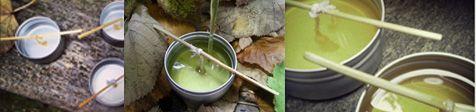 Candela da massaggio con oli vegetali, cera di soia, burri ed oli essenziali.