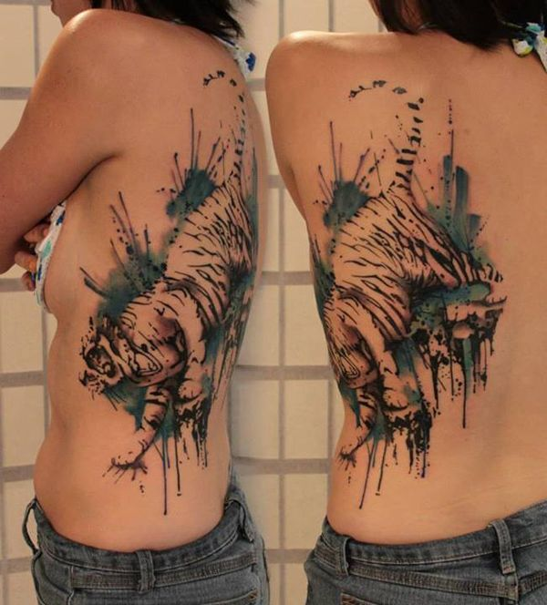 Watercolor tiger tattoo on back - 55 Awesome Tiger Tattoo Designs