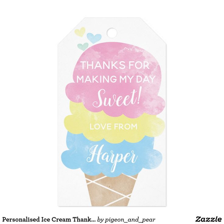 Personalised Ice Cream Thank You Tags