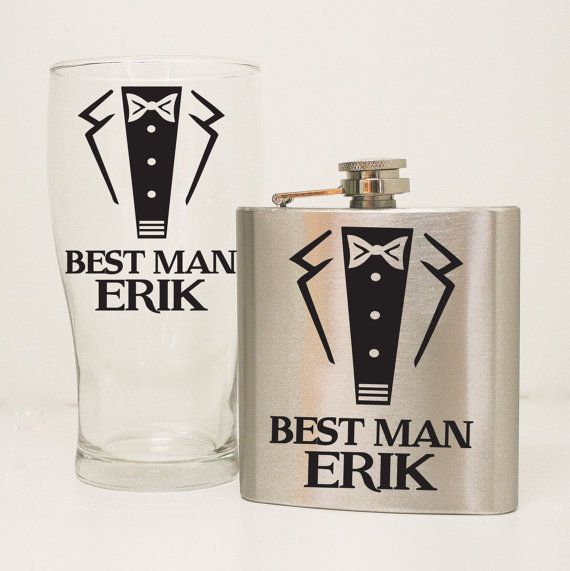 Tuxedo Flask Set - Best man or Groomsman's Gift, Wedding party Flask  Glass Gift Set, Custom Beer Glass, Personalized Beer Glass