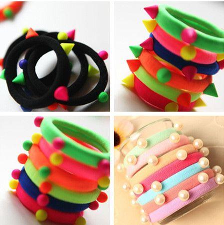 Fashion Rivets Colorful Balls Head Elastic Bands Hair Ties Women Black Hair Accessories