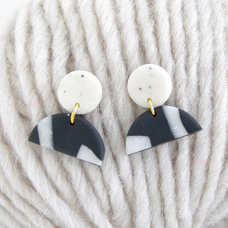 Statement Earrings - Black and white granite (polymer clay) by colourwork on Etsy