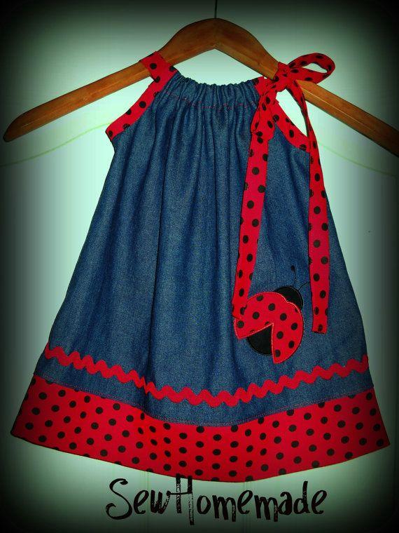 LADYBUG PILLOWCASE DRESS  LadyBug Denim Dress  by soohomemade, $25.00