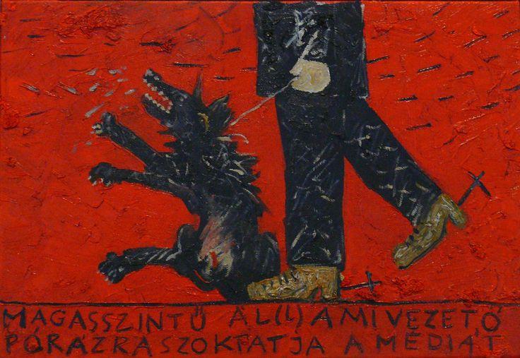 aatoth franyo: Magasszintű á(l)lami vezető pórázra szoktatja a médiát / High-Positioned State Leader Trains the Media to Walk On a Leash - 2011 – 24x35 cm - olaj, vászon / oil on canvas