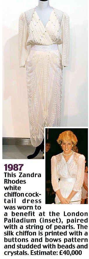 1987 Diana dress - by Zandra Rhodes - a white chiffon worn to a benefit at the Palladium