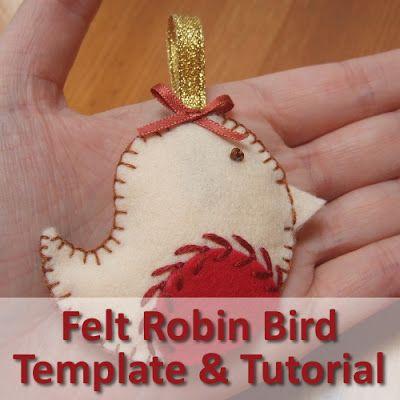 Make a felt robin bird ornament to hang up this Christmas