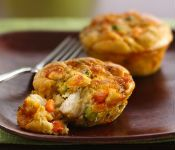 Impossibly Easy Mini-Pies -- Betty Crocker recipes baked in muffin cups based on the original Bisquick Impossible Pies.  Nutritional info and diabetic exchanges are given for each.  Most can be adapted to a lower-fat menu.