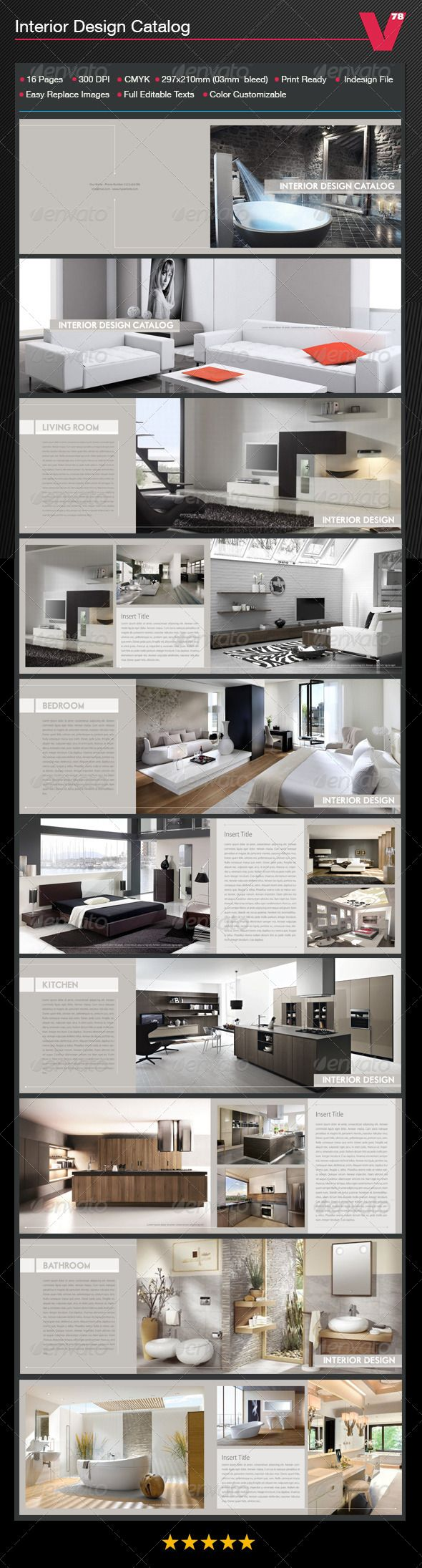 Interior Design Catalog — InDesign INDD #big #bedroom • Available here → https://graphicriver.net/item/interior-design-catalog/7639032?ref=pxcr